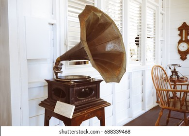 Old gramophone for decorating in vintage house. vintage color tone effect.