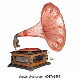 Old gramophone isolated on a white background.