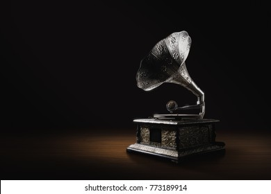 Old gramophone on a dark background (high contrast image)