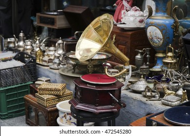 An Old Gramophone and Other Antique Objects At Antiques Market
