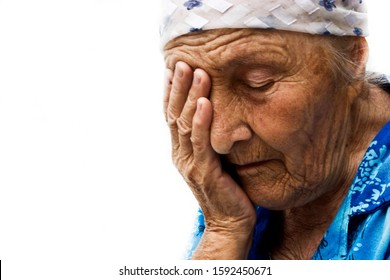 Old grandmother in tears close-up. Begging grandmother. Old grandmother