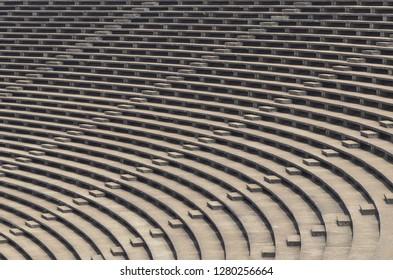 Old grandstand in football stadium