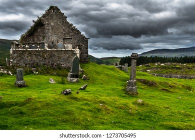 Old Graveyard With Church Ruin And Sheep Flock On The Isle Of Skye In Scotland