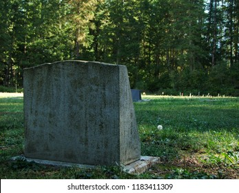 Old graveyard with weathered headstones in the rural country