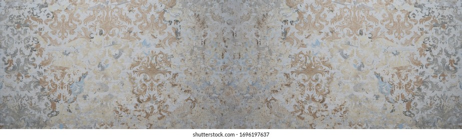 Old gray brown vintage shabby patchwork motif tiles stone concrete cement wall texture background banner