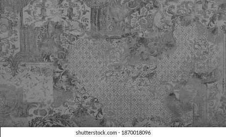 Old gray grey worn grunge vintage shabby patchwork motif tiles stone concrete cement wall wallpaper texture background