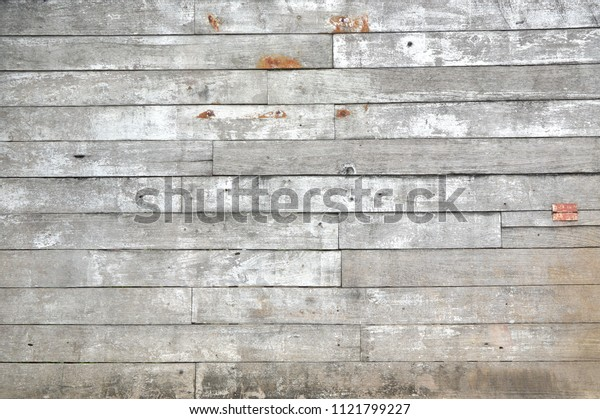Old gray and white wood planks background, Vintage grunge texture use for wallpaper