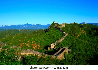 The old Great Wall, in the blue sky background