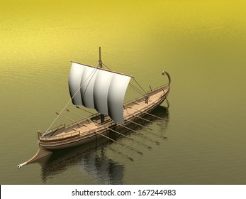 Old greek boat floating on the ocean by brown day