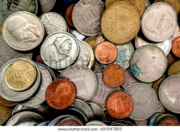 Old Greek Coins Drachmas Stock Photo (Edit Now) 695947801