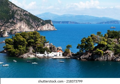 Old Greek orthodox church on island Panagias in Parga, Greece.