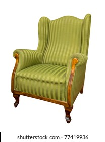 old green armchair isolated on white