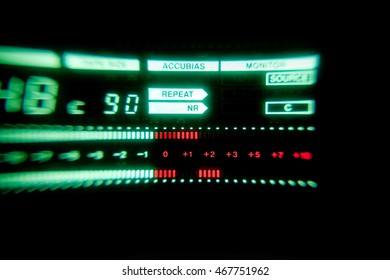 Old Green audio level meter of tape recorder