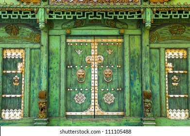 Old green Chinese house