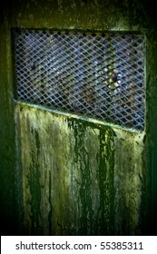 An old green door covered in mold.