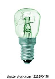 Old green glass lightbulb isolated over white background