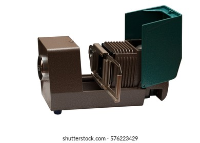 Old green projector isolated on white background. Ready to work.