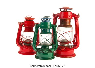 Old green and red oil lamps