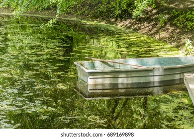 old green rowboat in a garden pond