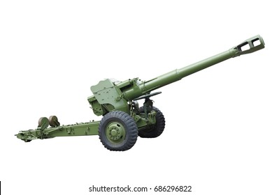 Old green russian artillery field cannon gun isolated over white background