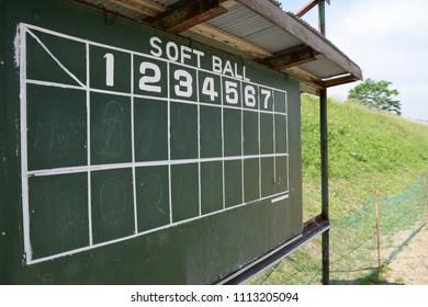 Old green scoreboard. Softball,baseball,ballgame,