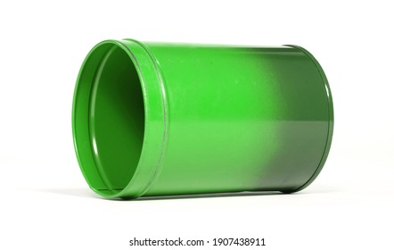 Old green tin can, isolated on white background