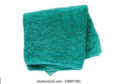 Old green Towel isolated on white background