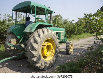 Old Green Tractor in the Farm