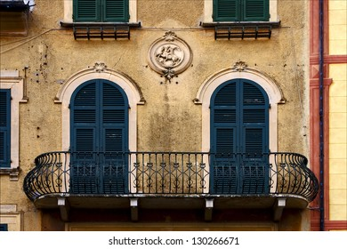 old green yellow little terrace  and incision  in the centre of portofino italy