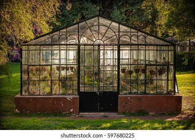 old greenhouse in park