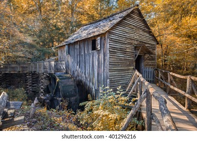 Old grist mill in Autumn in Smokey Mountains.