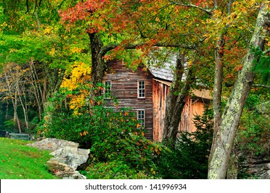 Old Grist Mill in full autumn colors in West Virginia