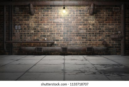 Old grunge basement room with rust pipes. 3d rendering