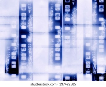 old grunge blank film strip frame isolated on white background, texture