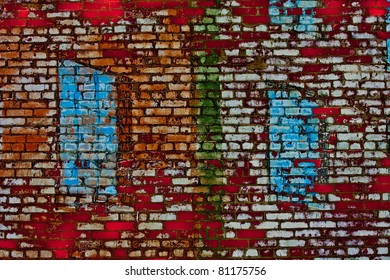 Old grunge brick wall painted white, blue, and Green