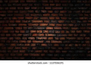 Old grunge dark brick wall background