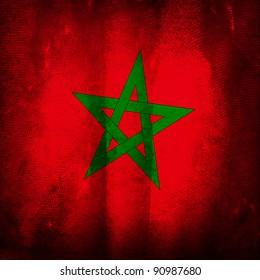 Old grunge flag of Morocco