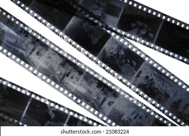 old grunge negative films isolated