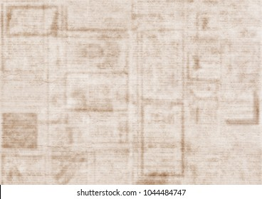 Old grunge newspaper texture background. Blurred vintage newspaper background. Blur unreadable old newspaper page with advertisements. Gray beige sepia collage newspaper background