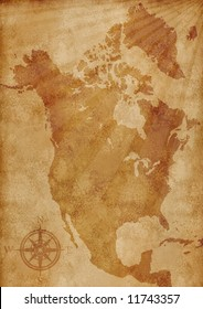 old grunge North America map illustration