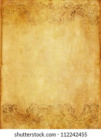 old grunge paper background from book with vintage victorian style