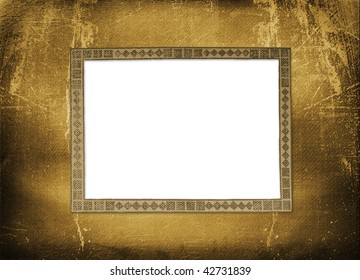 Old grunge paper frame on the ancient background