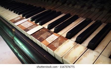 Old grunge piano closeup
