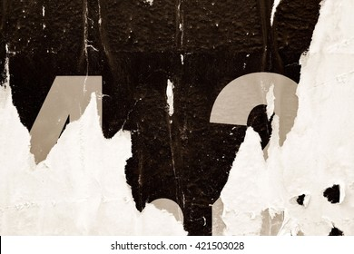 Old grunge ripped torn vintage collage posters creased crumpled paper surface texture background