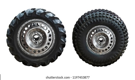 Old and grunge truck wheel and tire isolated on white background with clipping path