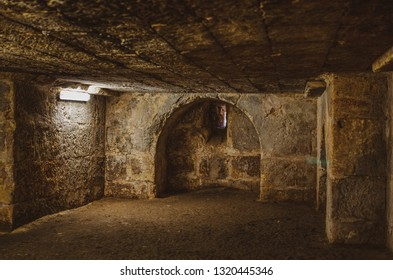 Old grunge vintage Basement interior with bricks walls and floor