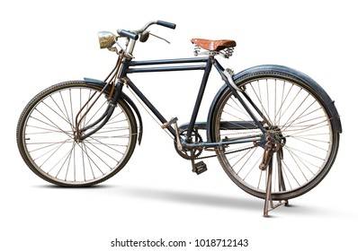 Old and grunge vintage bicycle isolated on white background with clipping path
