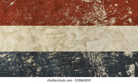 Old grunge vintage dirty faded shabby distressed Dutch (Holland, Kingdom of the Netherlands) national flag background