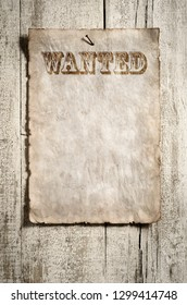 old grunge wanted advert on aged wooden wall