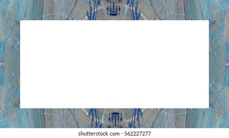 Old Grunge Weathered Peeled Painted Plaster Wall Frame With Abstract Antique Cracked Texture. Retro Stucco Scratched Pattern. Empty Space For Image, Text. Rectangle horizontal Banner